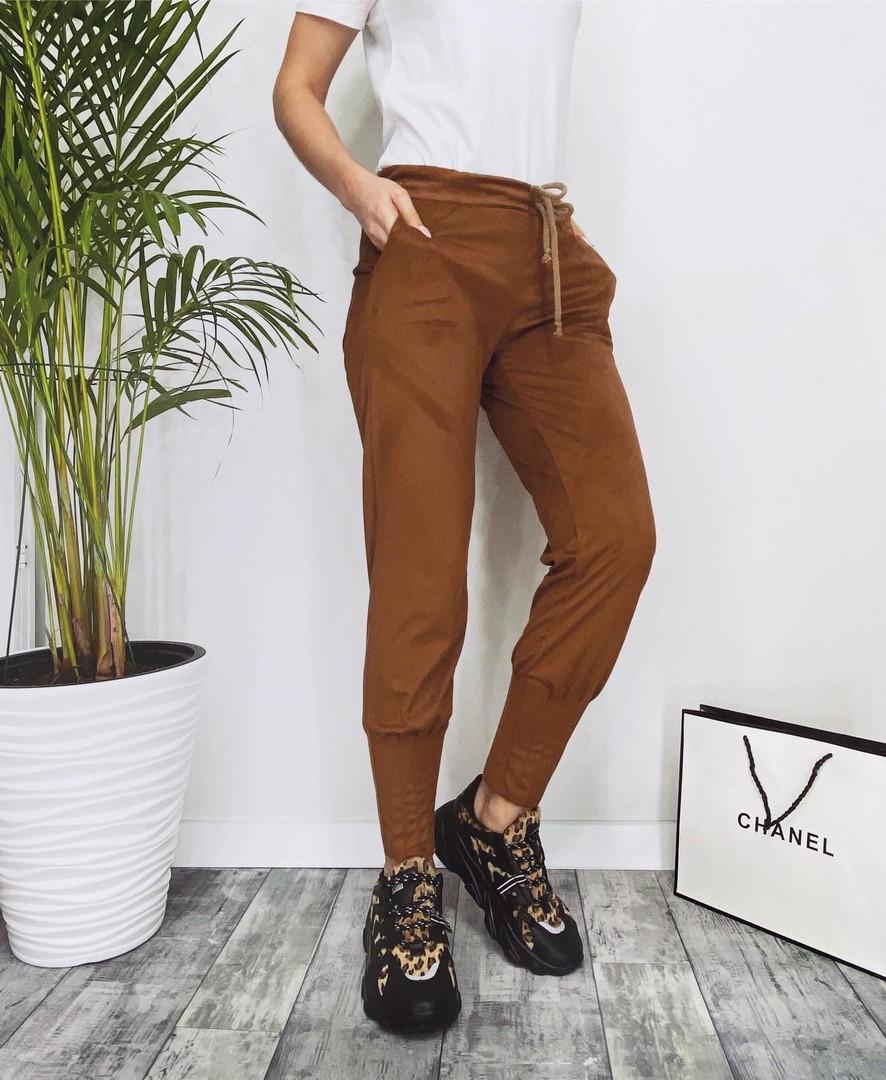 Женские замшевые штаны с карманами