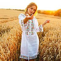 Белое платье вышиванка MEREZHKA с цветами Ятрань размер 48