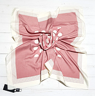 Шелковый платок Сильвия, горох, 90*90 см, розовый