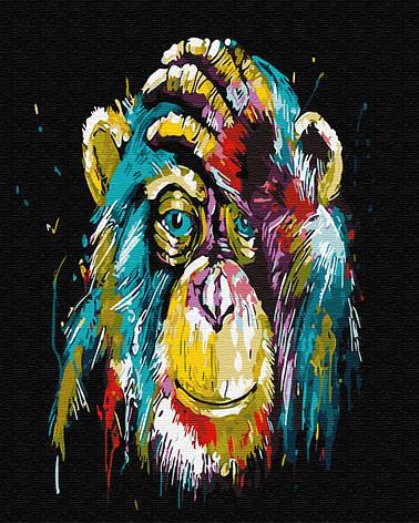 Картина по номерам 40*50см. Красочная шимпанзе GX25714 Brushme, фото 2