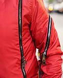 Бомбер - дизайнерська чоловіча куртка-бомбер чорно-червона, фото 2