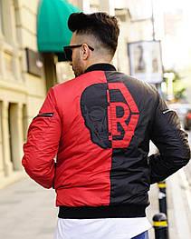 Бомбер - дизайнерська чоловіча куртка-бомбер чорно-червона