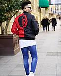 Бомбер - дизайнерська чоловіча куртка-бомбер чорно-червона, фото 8