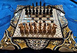 Шахматы-нарды-шашки 3 в 1, резьба по дереву, фото 3