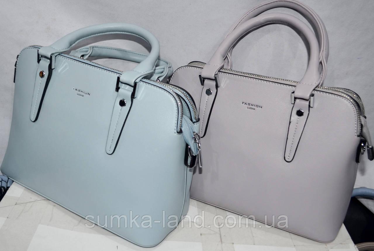 Женские молодежные сумки из искусственной кожи на 3 отделения 29*21 см (голубая и сирень)