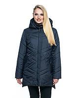 Женская демисезонная куртка большого размера, капюшон съемный, р-ры с 54 по 70, синий (104)