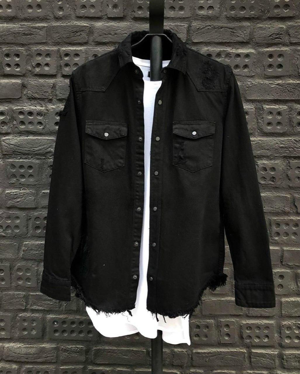 Мужская Джинсовая рубашка плотный джинс (черная)