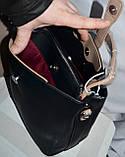 Женские маленькие сумочки-клатчи из искусственной кожи на 3 отдела 24*21 см (беж и черный), фото 2