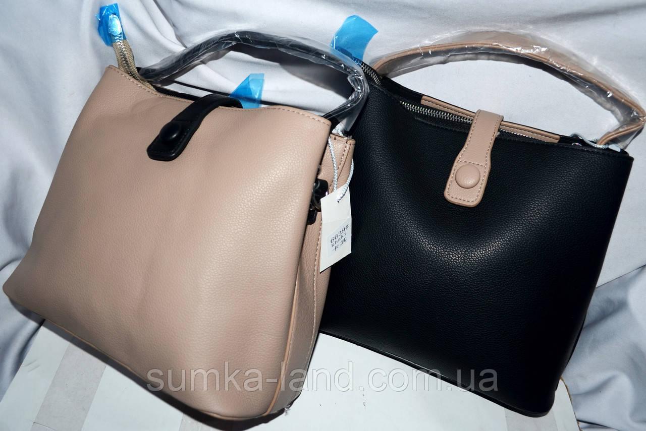 Женские маленькие сумочки-клатчи из искусственной кожи на 3 отдела 24*21 см (беж и черный)