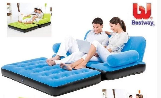 Надувний диван трансформер Bestway 67356 з насосом блакитний