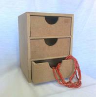 Комод Леди на 3 ящика 15х15х20 см МДФ заготовка для декора