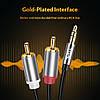 Аудио кабель 2 RCA 3.5 Jack AUX Hi-Fi Topk L14 (Чёрный, 1м), фото 2
