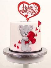 Топпер Happy Birthday в форме сердца, топпер happy birthday с сердцами,Топери Happy Birthday ОПТ