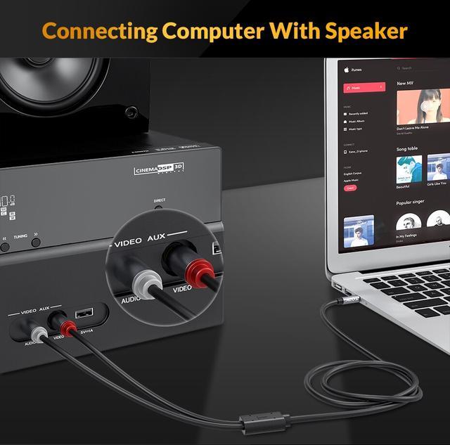 Межкомпонентный аудио кабель 2 RCA 3.5 Jack AUX Hi-Fi Topk L14 1м