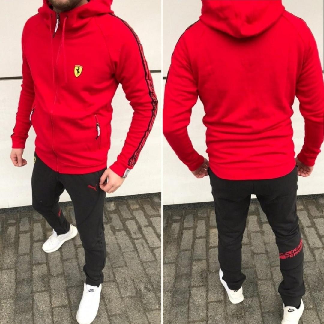 Костюм спортивный мужской, на молнии, с капюшоном, повседневный, штаны на манжете, модный, красный