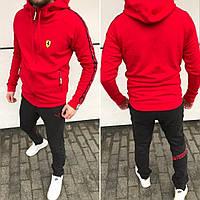 Костюм спортивный мужской, на молнии, с капюшоном, повседневный, штаны на манжете, модный, красный, фото 1