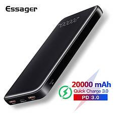 Зовнішній акумулятор Essager ES-D005 Surge Dual QC3.0 PD Power Bank 20000 mAh White (EDYPQ2-JL02), фото 2