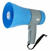 Мегафон рупор громкоговоритель 15 ватт Синий UKC ER-22U Записывает голос, Поддерживает USB