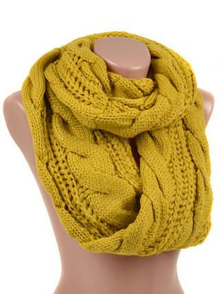 Шарф Женский Осень-Зима Вискоза M0332 yellow Хомут Распродажа, фото 2