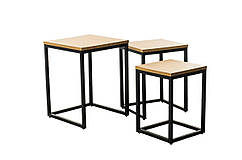 Комплект журнальних столів CS-10 МДФ колір горіх, метал