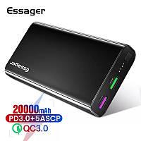 Внешний аккумулятор Essager ES-D008 Power Bank 20000 mAh USB PD Supercharge Black (EDYUP-CS01)
