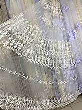 Турецкий фатиновый тюль с вышивкой 8840