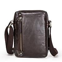 Стильная мужская сумка кожаная через плечо Premium Collection M1. Стильна чоловіча сумка шкіряна через плече
