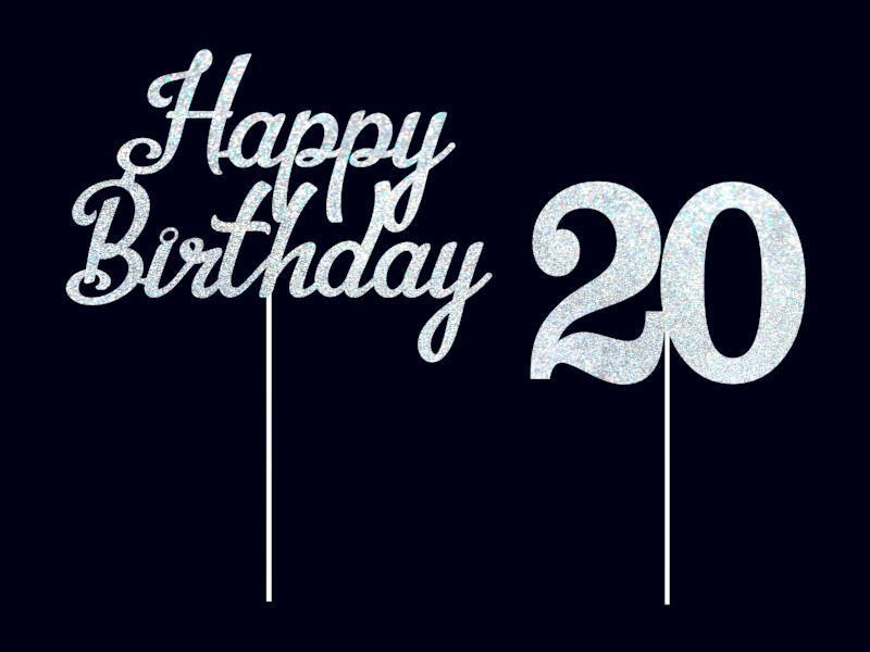 Комплект Топперов Happy Birthday с цифрой 20 Топперы из пластика Индивидуальная цифра Индивидуальный топпер