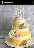 Свадебный топпер молодожены под венчальной аркой Пластиковые топперы Топперы в блестках Топперы на заказ, фото 3