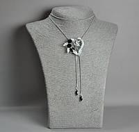 """Подвеска-галстук """"Сердце"""" с черными кристаллами на длинной цепочке металл """"серебро"""" d-41х46мм L-90"""