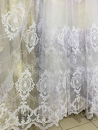 Турецкая фатиновая тюль с вышивкой 24Н5, фото 2