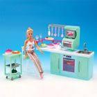 Мебель для кукол (кухня, плита, духовка, мойка, этажерка, стул, посуда), 2816