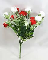 Красно-белый букет розы флорибунды,искусственные декоративные цветы, фото 1