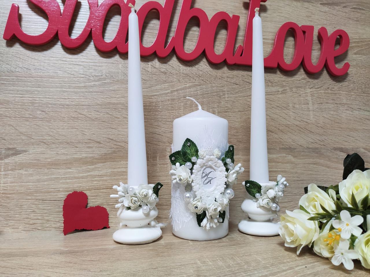 Набор свадебных свечей Monogram. Цвет белый.