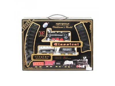 Железная дорога 138-87см/87см, локомотив-свет,звук, вагон 2шт, 15дет,  YY-097