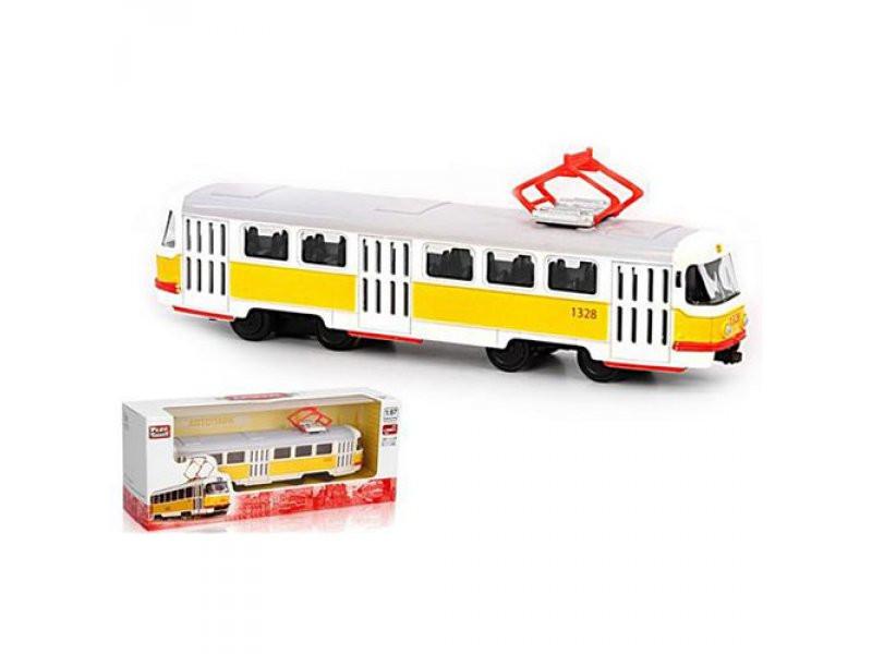 Трамвай металлический, инерционный, 1:54, 16,5см, 6411B