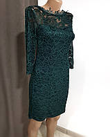 Шикарное зеленое кружевное платье