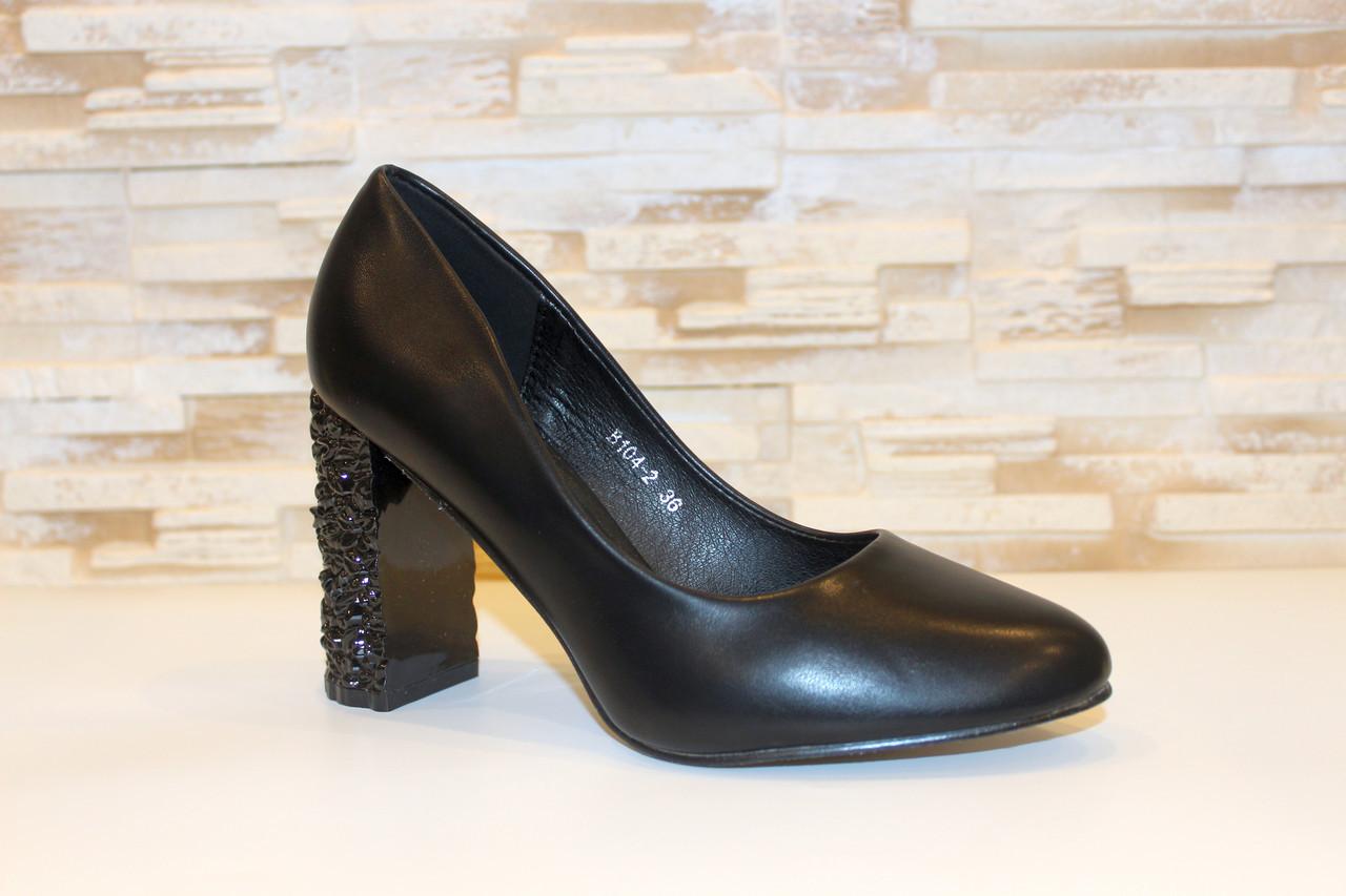 Туфли женские черные на каблуке Т014