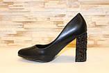 Туфли женские черные на каблуке Т014, фото 2