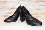 Туфли женские черные на каблуке Т014, фото 3