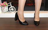 Туфли женские черные на каблуке Т014, фото 5