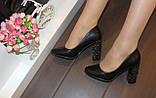 Туфли женские черные на каблуке Т014, фото 6