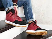 Чоловічі кросівки в стил  Nike Lunar Force 1 Duckboot червоні з чорним
