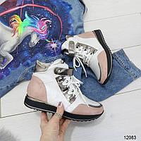 Женские подростковые спортивные ботинки кроссовки демисезонные белые с розовым