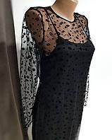 Черное платье-двойка с сеткой