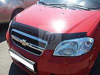 Дефлектор капота (мухобойка) Chevrolet aveo T250 (шевроле авео т250) 2005-2011