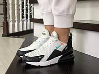 Жіночі кросівки в стилі  Nike Air Max 270  білі з мятою  (ТОП Якість)