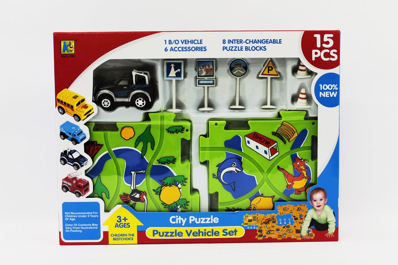 Игрушка Набор Трек-пазл, 8 пластмасовых частей поля, 1 машинка с электродвигателем, дорожные знаки, 8072-KLX