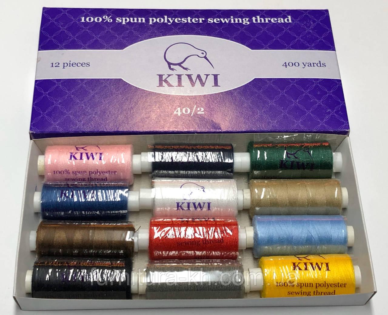 """Швейная нитка KIWI"""" №40 Цвет Цветной набор (12 цветов) «Микс»"""