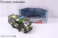 Автобус PLAY SMART военный, инерционный, музыка, светится, 9098-F